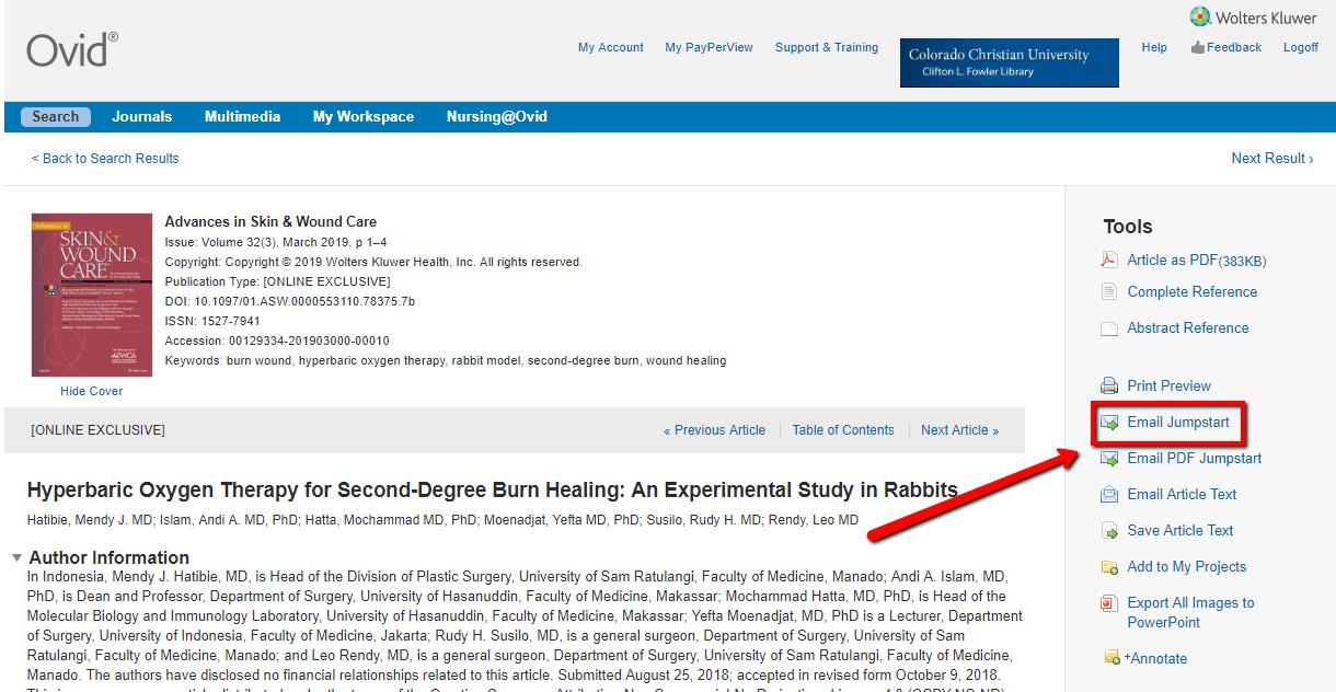 Screenshot of email jumpstart link