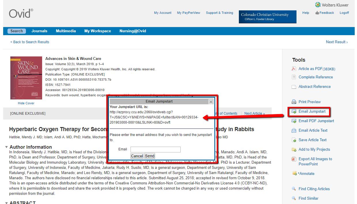 Screenshot of article permalink