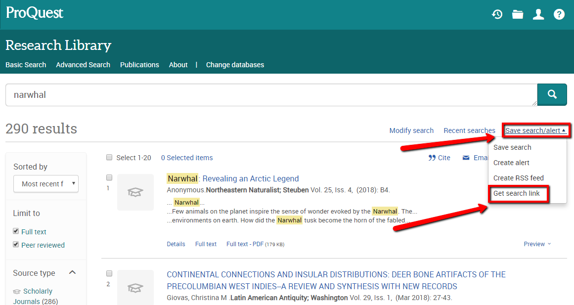 Screenshot ProQuest search permalink number one