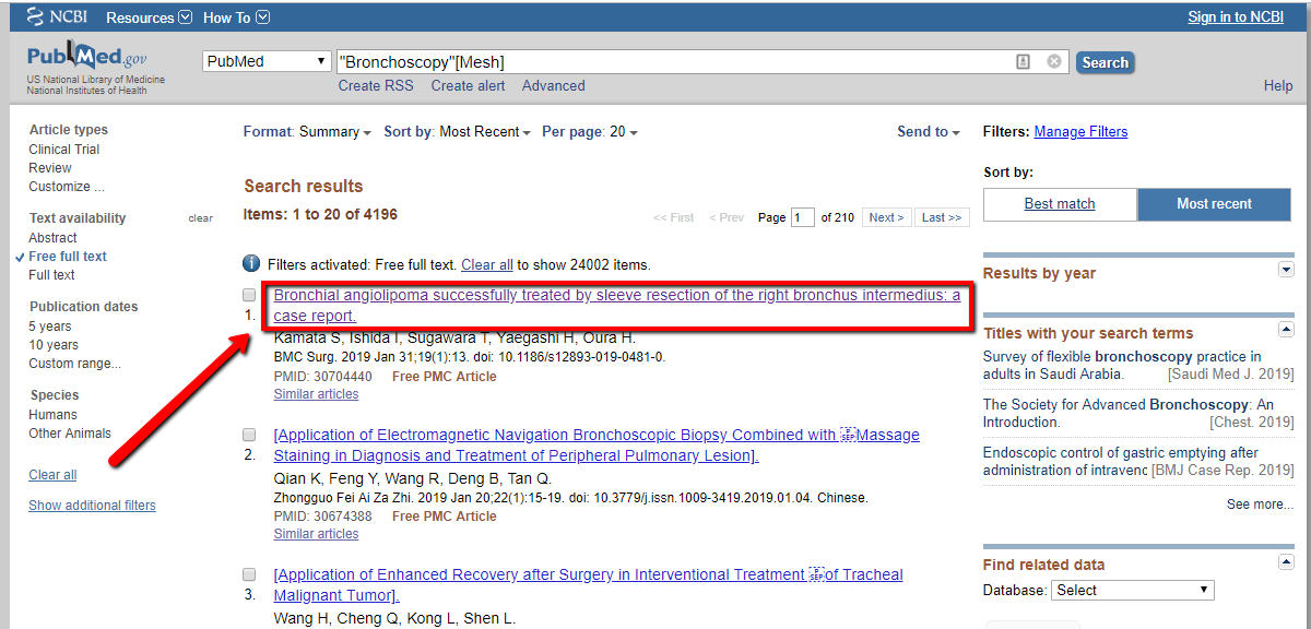 Screenshot PubMed article search number one